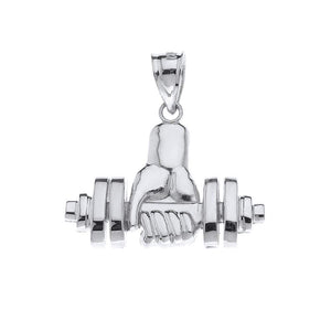 CaliRoseJewelry 14k Weightlifting Dumbell Barbell Fitness Gym Trainer Charm Pendant