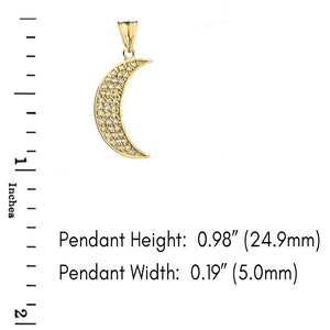 CaliRoseJewelry 10k Gold Crescent Moon Cubic Zirconia Pendant Necklace