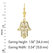 Load image into Gallery viewer, CaliRoseJewelry 10k Yellow Gold Hamsa Hand Cubic Zirconia Pendant Necklace and Earrings Set