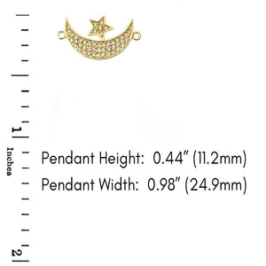 CaliRoseJewelry 14k Gold Sideways Crescent Moon and Star Symbol Diamond Pendant Necklace