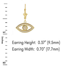 Load image into Gallery viewer, CaliRoseJewelry 10k Yellow Gold Evil Eye Cubic Zirconia Pendant Necklace and Earrings Set