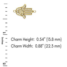 Load image into Gallery viewer, CaliRoseJewelry 14k Gold Hamsa Hand Heart Diamond Link Bracelet