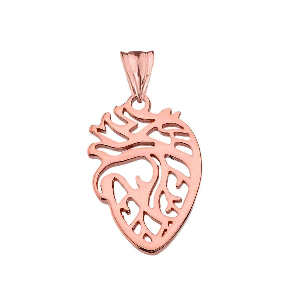 CaliRoseJewelry 10k Anatomical Heart Nurse Doctor Charm Pendant
