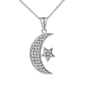 CaliRoseJewelry Sterling Silver Crescent Moon and Star Symbol Cubic Zirconia Pendant Necklace