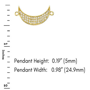CaliRoseJewelry 14k Gold Sideways Crescent Moon Cubic Zirconia Pendant Necklace
