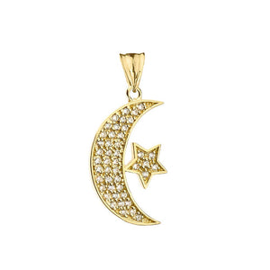 CaliRoseJewelry 14k Gold Crescent Moon and Star Symbol Diamond Pendant