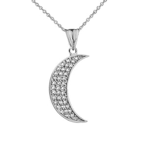 CaliRoseJewelry 10k Gold Crescent Moon Diamond Pendant Necklace