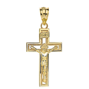 14k Gold INRI Crucifix Cross Catholic Jesus Pendant 1.65""