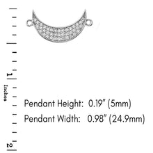 Load image into Gallery viewer, CaliRoseJewelry Sterling Silver Sideways Crescent Moon Cubic Zirconia Pendant Necklace