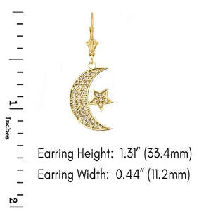 CaliRoseJewelry 10k Yellow Gold Crescent Moon and Star Cubic Zirconia Pendant Necklace and Earrings Set