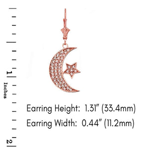 CaliRoseJewelry 14k Gold Crescent Moon and Star Cubic Zirconia Pendant and Earrings Set