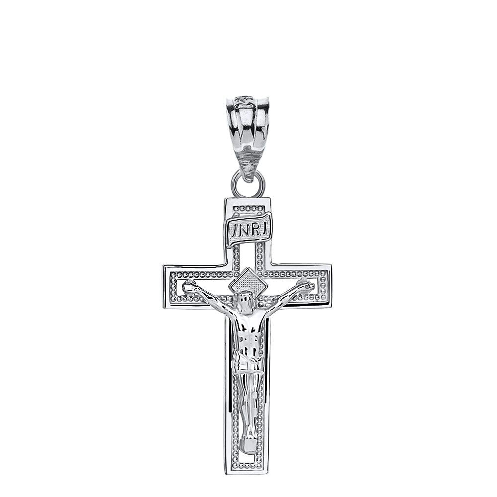 10k White Gold INRI Crucifix Cross Catholic Jesus Pendant