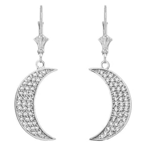 CaliRoseJewelry 14k Yellow Gold Crescent Moon Cubic Zirconia Pendant and Earrings Set