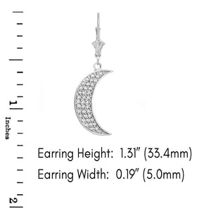 14k Gold Crescent Moon Diamond Earrings