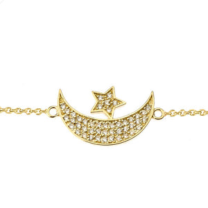 CaliRoseJewelry 14k Gold Sideways Crescent Moon and Star Symbol Diamond Link Bracelet