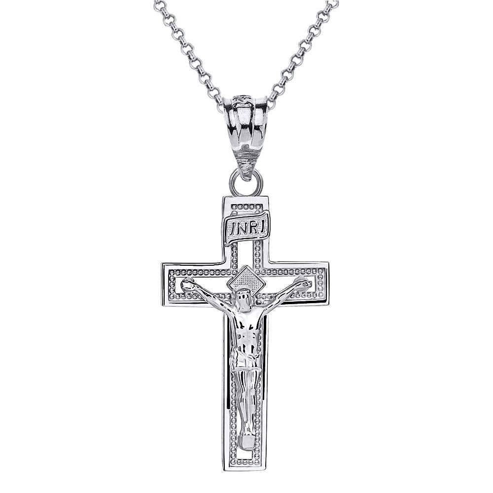 Sterling Silver INRI Crucifix Cross Catholic Jesus Pendant Necklace
