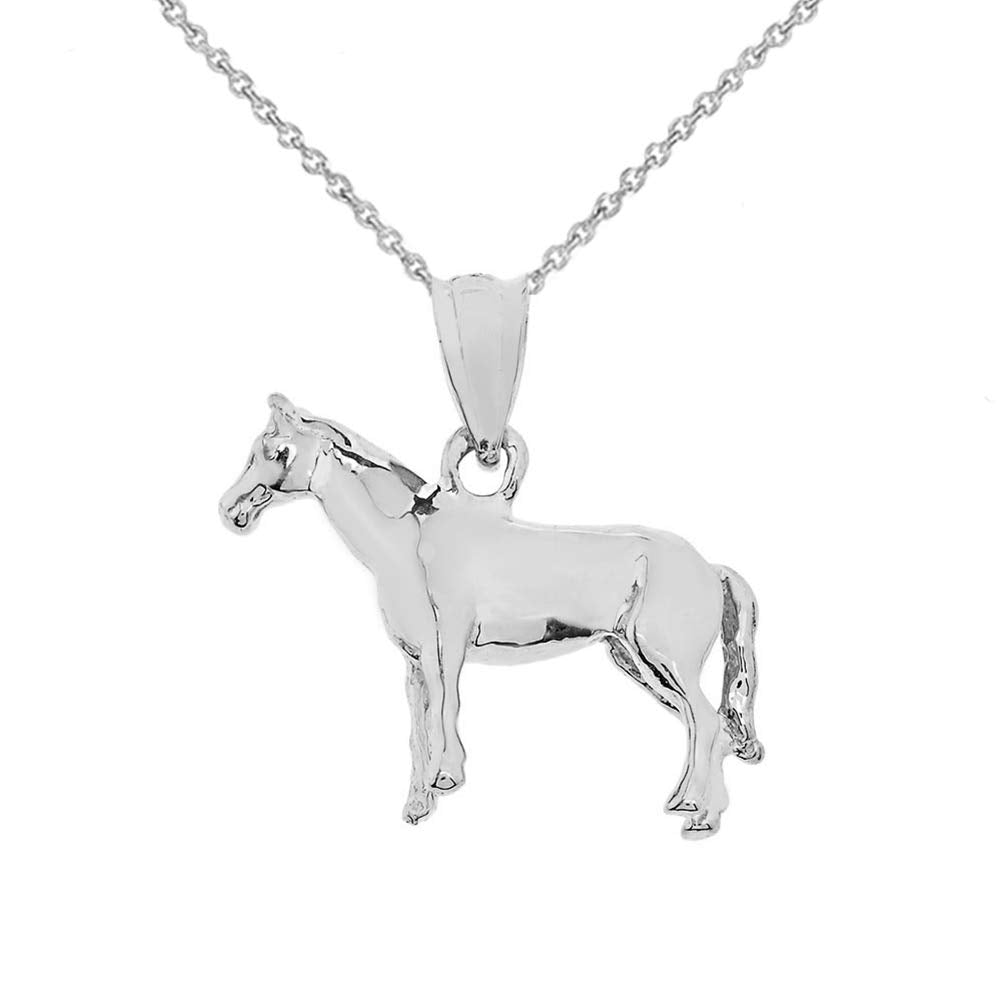 CaliRoseJewelry Sterling Silver Pony Horse Pendant Necklace