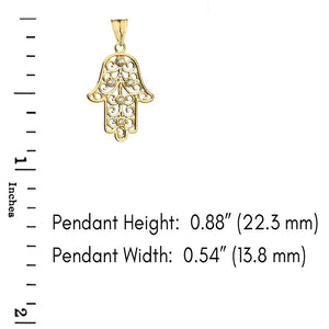 CaliRoseJewelry 10k Gold Hamsa Hand Diamond Charm Pendant Necklace