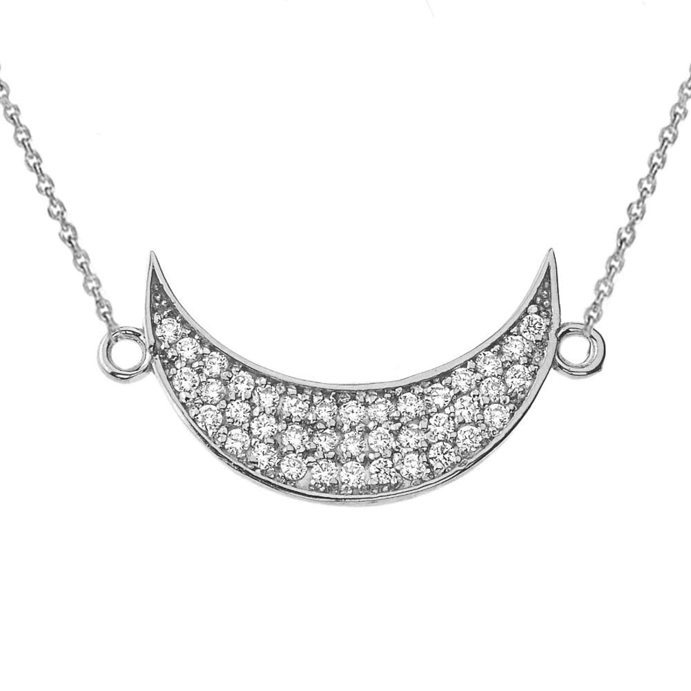 CaliRoseJewelry Sterling Silver Sideways Crescent Moon Cubic Zirconia Pendant Necklace