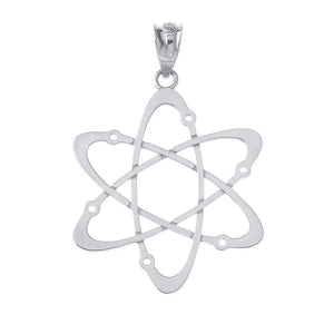 CaliRoseJewelry 10k White Gold Carbon Atom Science Reversible Charm Pendant