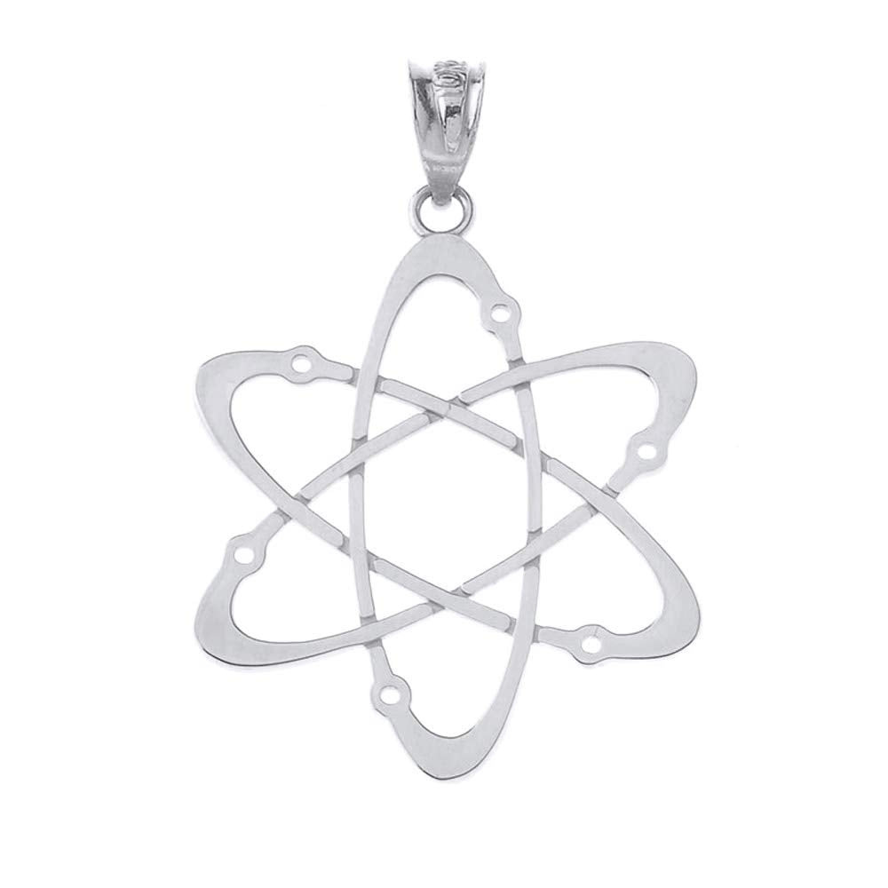CaliRoseJewelry Sterling Silver Carbon Atom Science Reversible Charm Pendant