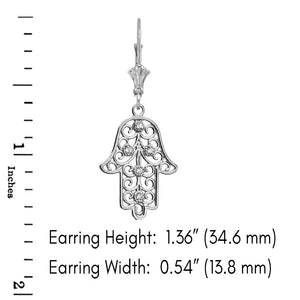 CaliRoseJewelry Sterling Silver Hamsa Hand Cubic Zirconia Pendant Necklace and Earrings Set