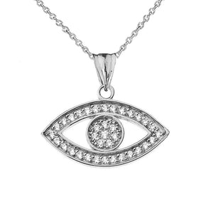 CaliRoseJewelry 10k Gold Evil Eye Cubic Zirconia Pendant Necklace