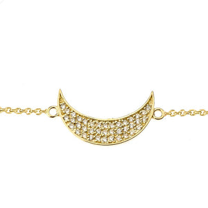 CaliRoseJewelry 14k Gold Sideways Crescent Moon Diamond Bracelet