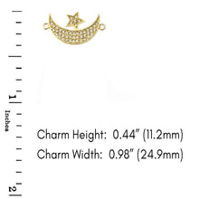 Load image into Gallery viewer, CaliRoseJewelry 14k Gold Sideways Crescent Moon and Star Symbol Cubic Zirconia Link Bracelet