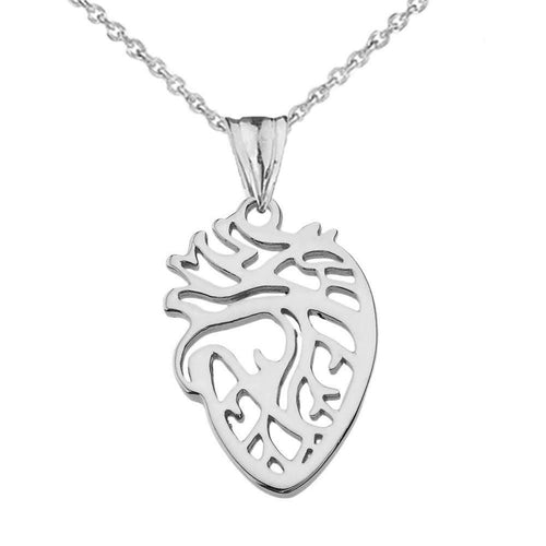CaliRoseJewelry Sterling Silver Anatomical Heart Nurse Doctor Charm Pendant Necklace