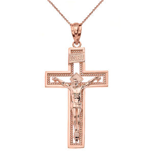 10k Rose Gold INRI Crucifix Cross Catholic Jesus Pendant Necklace