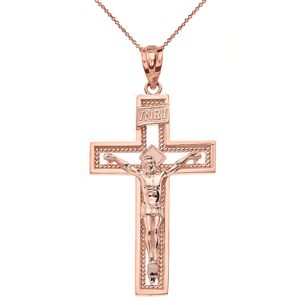 10k Gold INRI Crucifix Cross Catholic Jesus Pendant Necklace 1.36