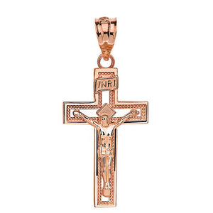 10k Gold INRI Crucifix Cross Catholic Jesus Pendant 1.65""