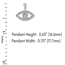 Load image into Gallery viewer, CaliRoseJewelry Sterling Silver Evil Eye Cubic Zirconia Pendant Necklace
