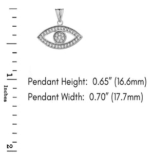 CaliRoseJewelry Sterling Silver Evil Eye Cubic Zirconia Pendant Necklace
