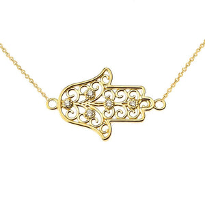 CaliRoseJewelry 14k Gold Sideways Hamsa Hand Heart Cubic Zirconia Pendant Necklace