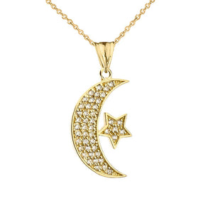 CaliRoseJewelry 14k Gold Crescent Moon and Star Symbol Cubic Zirconia Pendant Necklace