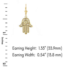 Load image into Gallery viewer, CaliRoseJewelry 10k Yellow Gold Hamsa Hand Heart Diamond Pendant Necklace and Earrings Set