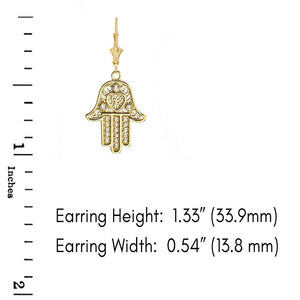 14k Gold Hamsa Hand of Protection Heart Diamond Earrings