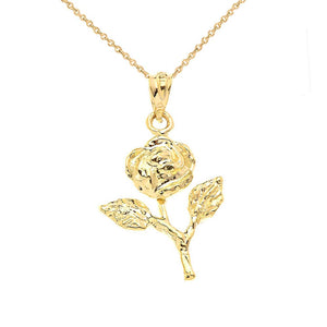 CaliRoseJewelry 14k Rose Stem Charm Pendant Necklace