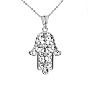 CaliRoseJewelry Sterling Silver Hamsa Hand Cubic Zirconia Charm Pendant Necklace