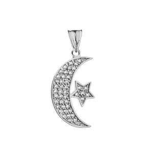 CaliRoseJewelry 14k Gold Crescent Moon and Star Symbol Cubic Zirconia Pendant