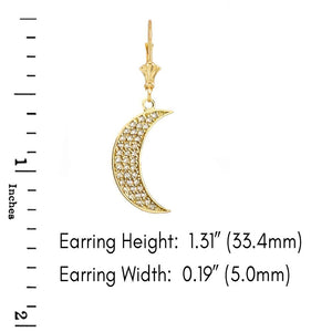 CaliRoseJewelry 14k Gold Crescent Moon Diamond Pendant Necklace and Earrings Set