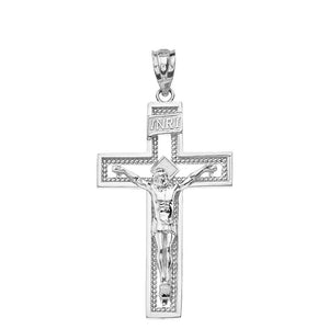 10k Gold INRI Crucifix Cross Catholic Jesus Pendant 1.36""