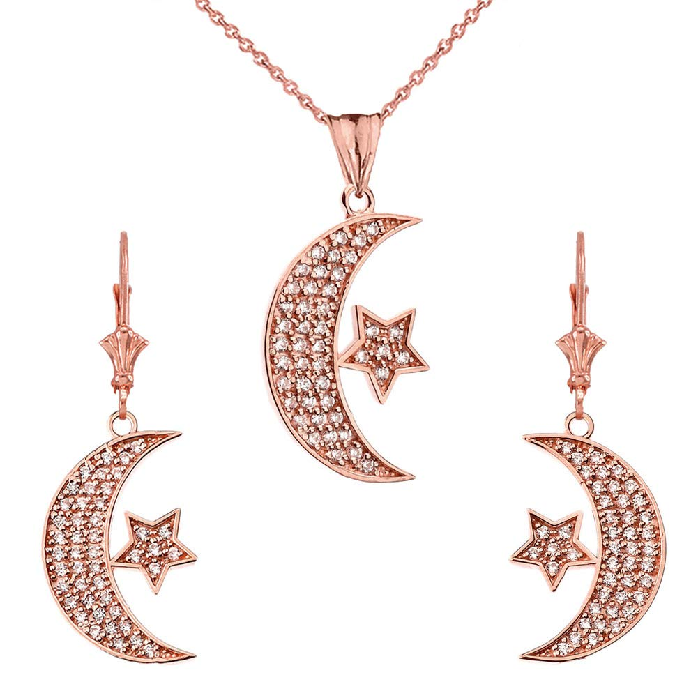 CaliRoseJewelry 14k Gold Crescent Moon and Star Diamond Pendant Necklace and Earrings Set