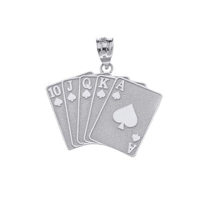 CaliRoseJewelry 14k Lucky Royal Flush of Spades Poker Hand Pendant