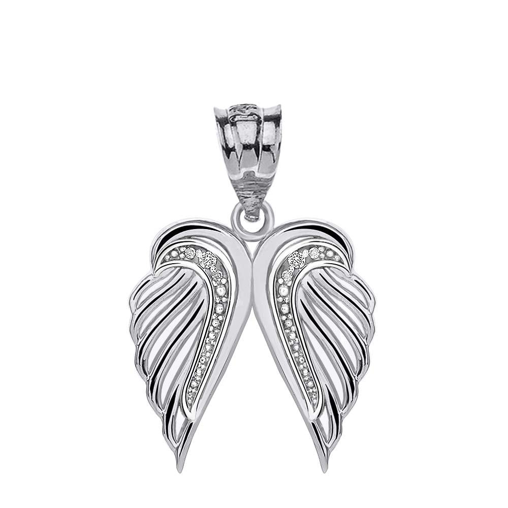 CaliRoseJewelry Sterling Silver Feather Dainty Angel Double Wing Cubic Zirconia Pendant