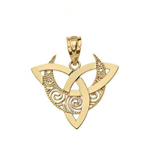 CaliRoseJewelry 14k Gold Crescent Moon Celtic Triquetra Trinity Knot Pendant