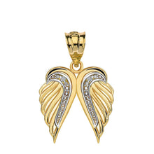 Load image into Gallery viewer, CaliRoseJewelry 10k Gold Feather Dainty Angel Double Wing Cubic Zirconia Pendant