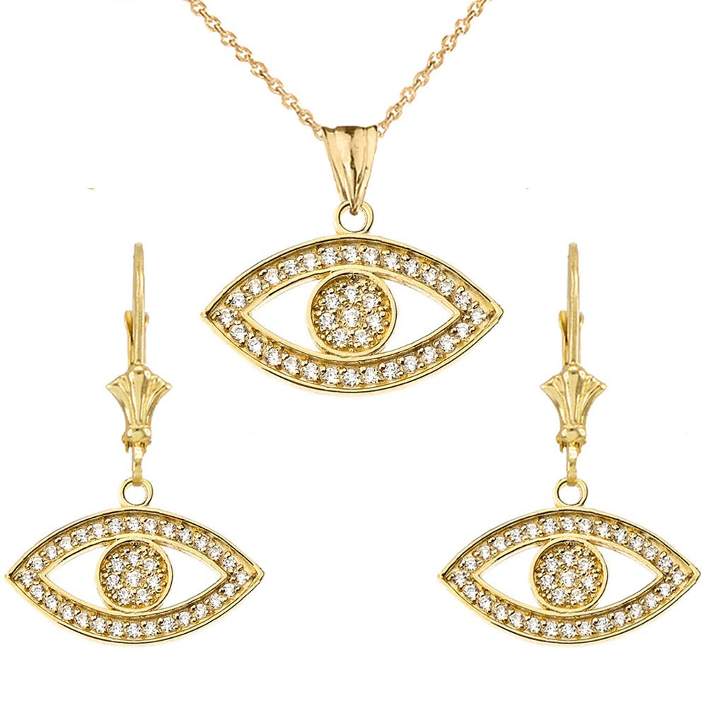 CaliRoseJewelry 10k Yellow Gold Evil Eye Cubic Zirconia Pendant Necklace and Earrings Set